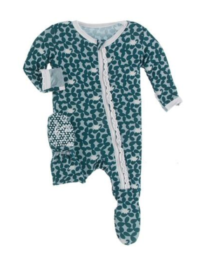 Kickee Pants Print Muffin Ruffle Footie with Zipper Jade Running Buffalo Clover