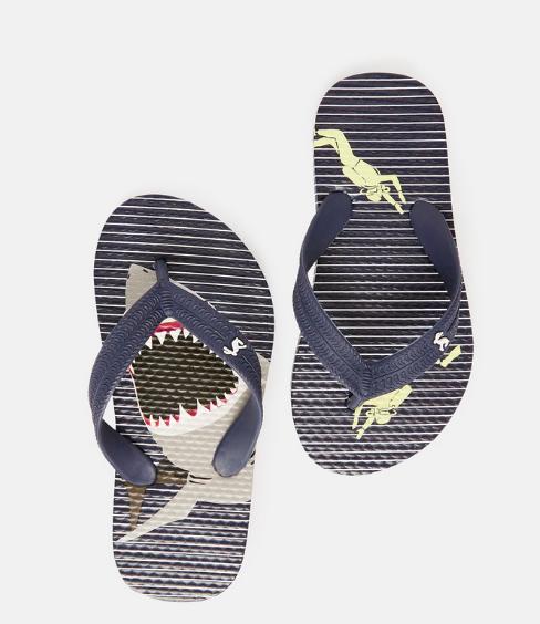 Joules JNR Flip Flop, Blue Stripe Shark