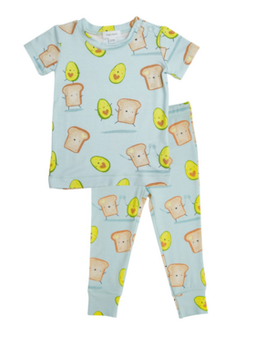 Angel Dear Avocado + Toast Lounge Wear Set Blue