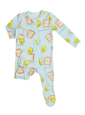 Angel Dear Avocado + Toast Zipper Footie