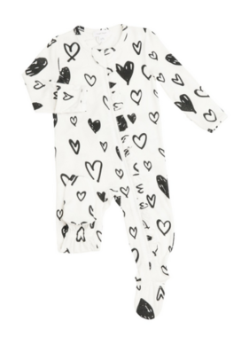 Angel Dear Hearts Ruffle  Zipper Footie Black And White