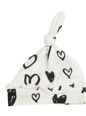 Angel Dear Hearts Knotted Hat Black And White 0/3 Month