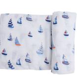 Angel Dear Nautical Boats Swaddle Blanket Blue
