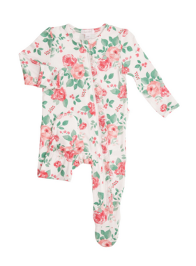 Angel Dear Rose Garden Ruffle  Zipper Footie Multi