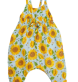 Angel Dear Sunflowers Tie Back Romper Whispering Blue