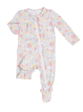 Angel Dear Sweet Ditsy Ruffle Zipper Footie Pale Pink
