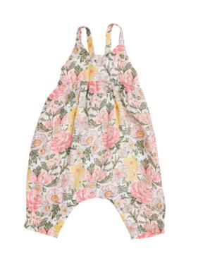 Angel Dear Traditional Floral Tie Back Romper Multi