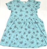 Pink Peony Butterfly Mid-Waist S/S Dress, Baby Blue