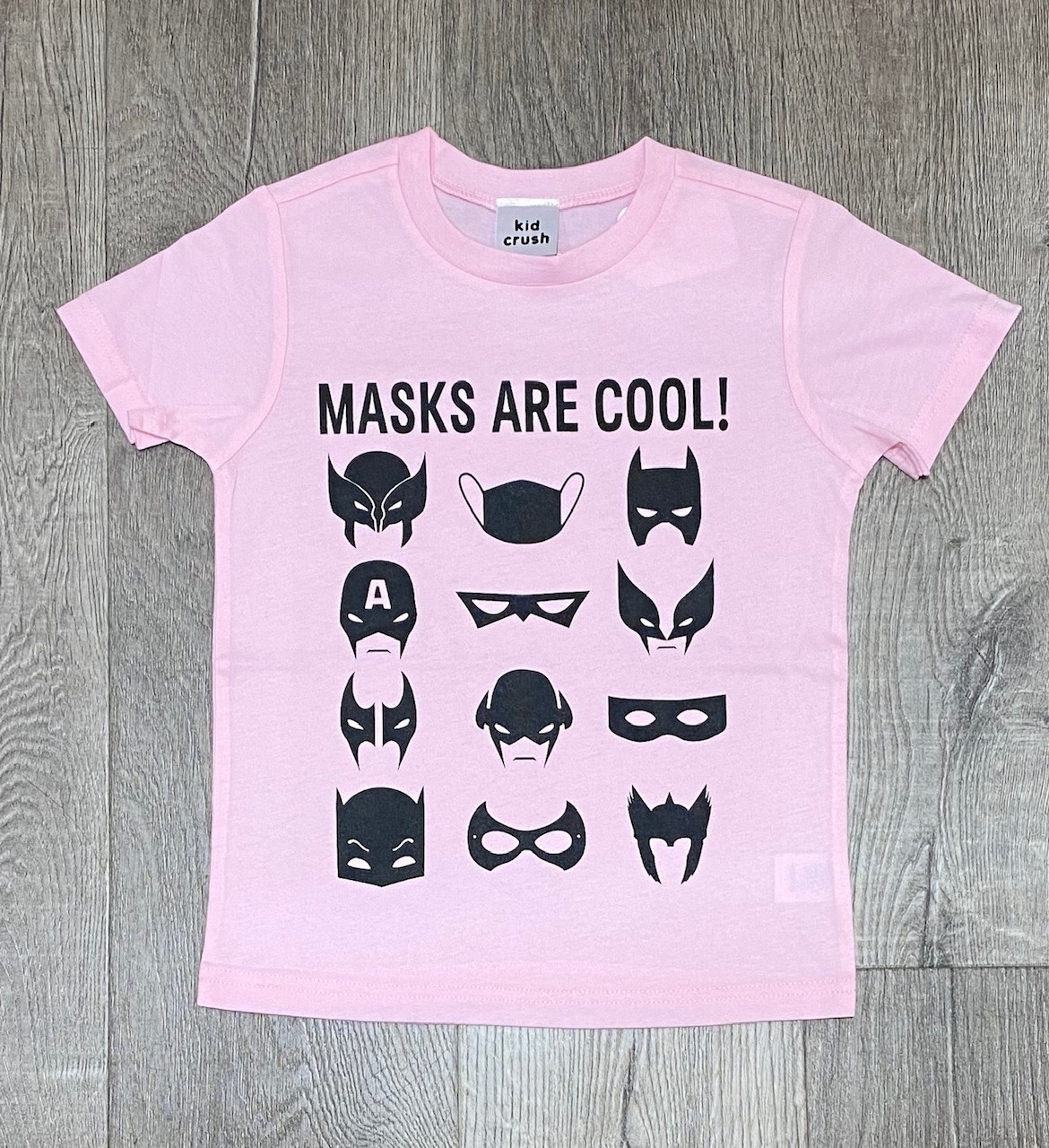 Kid Crush Masks Are Cool S/S Tee-Pink/Black