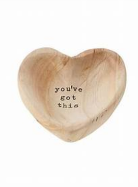 Mudpie GOT THIS WOOD HEART TRINKET