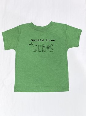Bella Beach Kids Spread Love not Germs T-Green