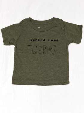 Bella Beach Kids Spread Love not Germs T-Olive