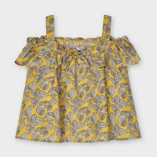 Mayoral 3195 011 Printed Sleeveless Blouse, Mustard