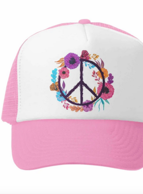 Grom Squad Boho Peace Trucker Hat, Pink/White