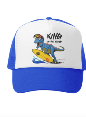 Grom Squad King Of The Waves Trucker Hat, Royal/White