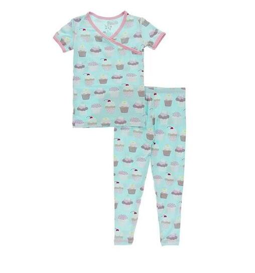 Kickee Pants S/S Kimono Pajamas-Summer Sky Cupcakes