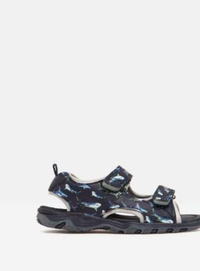Joules Rockwell Sandal w/ Velcro, Navy Lime Shark