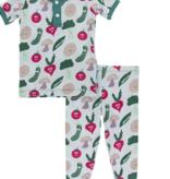 Kickee Pants S/S Pajama Set -Blue Happy Veggies