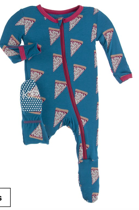 Kickee Pants Footie with Zipper Pizza Slices
