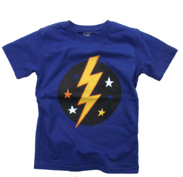 Wes And Willy 7698 1286 Lightning Bolt SS Tee, Blue Moon