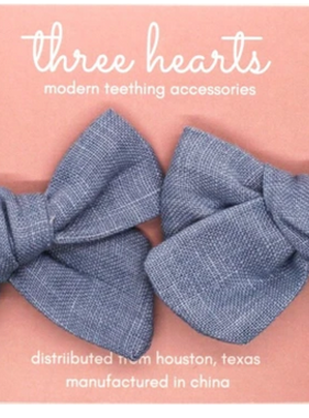 Three Hearts Enzliegh Clip/Bow Set - Slate