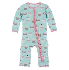 Kickee Pants Print Muffin Ruffle Coverall Zipper, Summer Sky Cupcakes