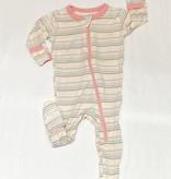 Kickee Pants Print Footie Zipper, Cupcake Stripe