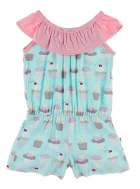 Kickee Pants Print Summer Romper, Summer Sky Cupcakes