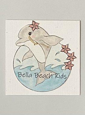 Bella Beach Kids Gift Card Enclosure Card - BBK Dolphin w/ Flower