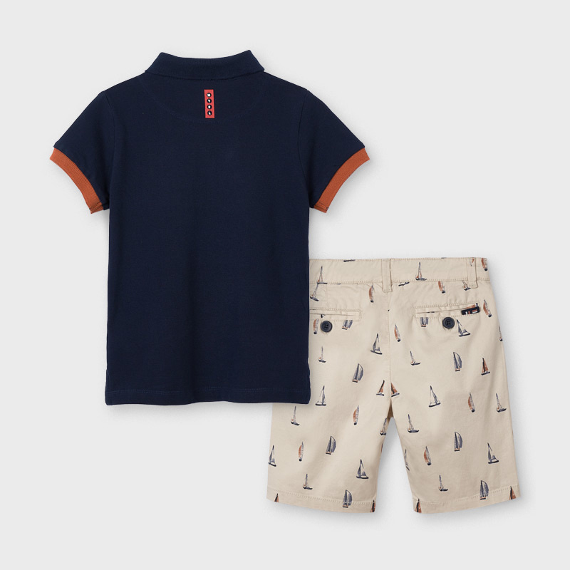 Mayoral 3245 015 Printed Shorts/Top Set, Latte