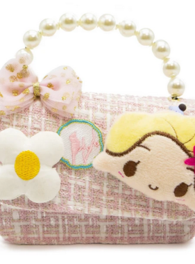 Novelty Purses Mini Girl And Flower Emb. Crossbody w/ Pearls