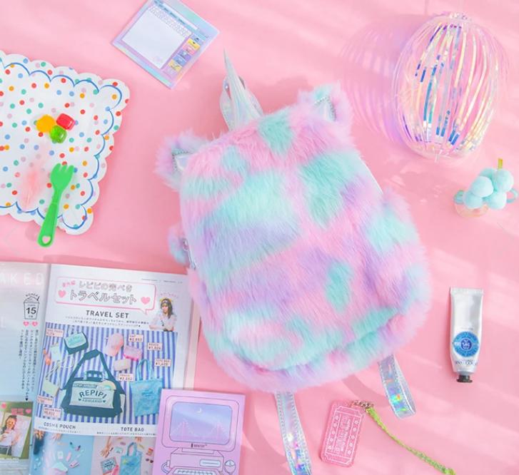 Novelty Purses Plush Rainbow Unicorn Backpack, Sunshine