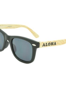 Hang Ten Baby Black Rimmed/Wood Arm Sunglasses HTK01CWC