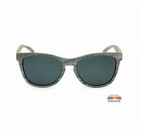 Hang Ten UV400 Classic Square Grey Wood Rimmed Sunglasses POLARIZED