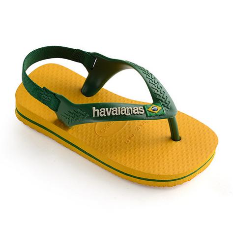 Havaianas Kids 4140577 Baby Brazil Logo Sandal, Banana Yellow/Green