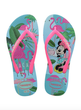 Havaianas Kids 4130287 Kids Slim Disney Minnie Mouse Sandal, Ice Blue/Pink