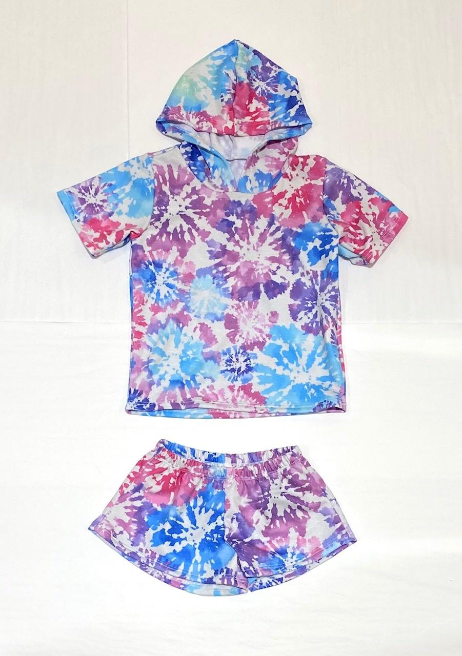 Social Butterfly S/S Hoodie/Short Set-Flower Dye