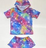 Social Butterfly Hoodie/Shorts Set-Tie dye stars