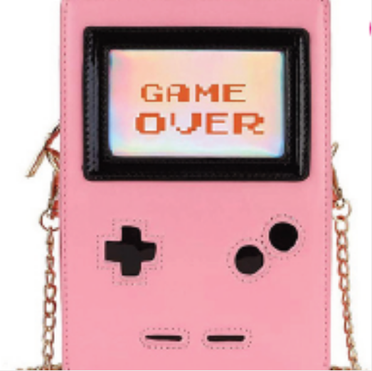 Novelty Purses Retro 8-Bit Gamer Purse, Pink