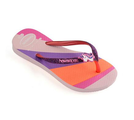 Havaianas Kids Kids Slim Glitter Sandal, Candy Pink
