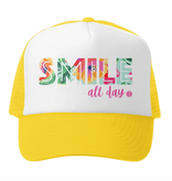 Grom Squad Smile All Day Trucker Hat, Yellow/Wht
