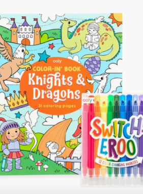 Ooly 191-181 Knights & Dragons Switcheroo Coloring Giftables Pack