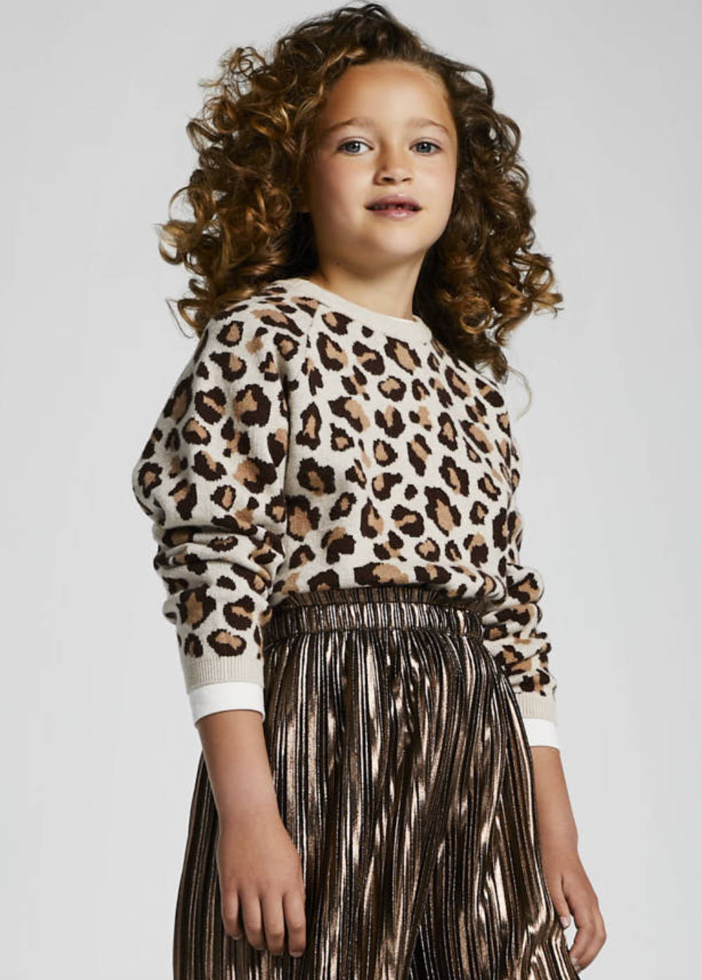 Mayoral 7353 27 Leopard Print Sweater, Natural