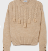 Mayoral 7348 52 Braided Sweater, Cookie