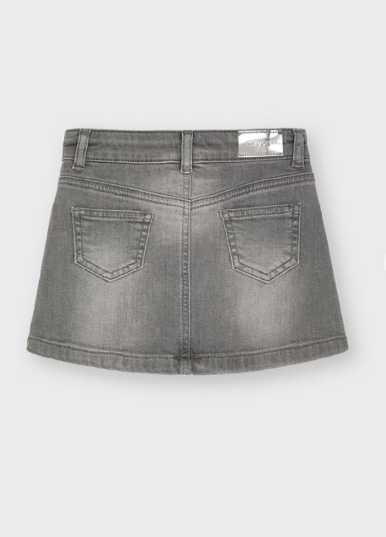 Mayoral 4906 17 Denim Skirt, Light Gray
