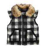 Mudpie 11080092 Black Check Quilted Vest