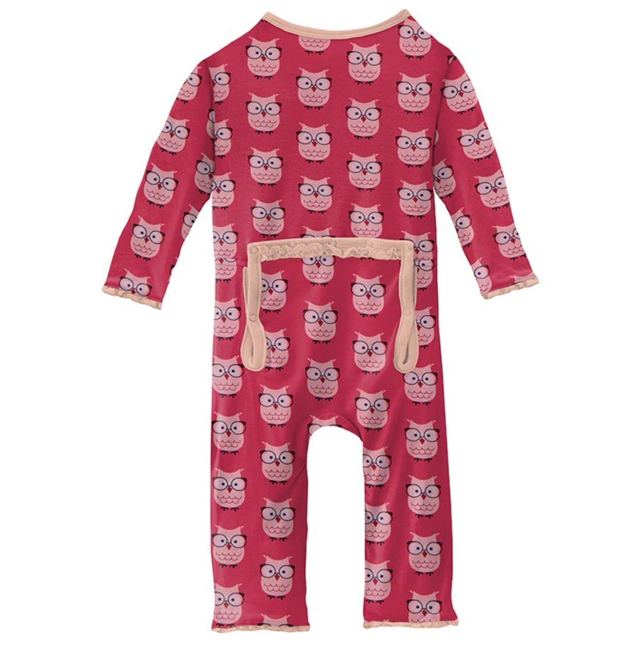 Kickee Pants Print Muffin Ruffle Coverall ZIPPER, Taffy Owls