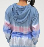 Candy Pink Denim Stripe Hoodie Dress S21341