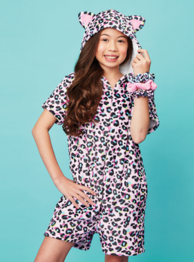 Iscream Pink Leopard Plush Romper 820-1486