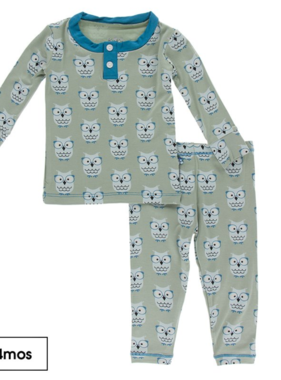 Kickee Pants Print LS Henley Pajama Set, Silver Sage Owls